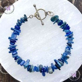 Blue Kyanite Chip Bracelet With Silver Toggle Clasp